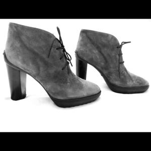 Tod's Gray Suede Ankle Boots with Chunky Heel